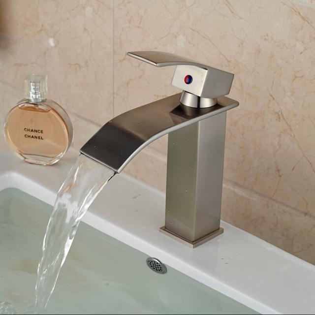 Shop Chiasso Single Handle Waterfall Brushed Nickel Deck Mount Bathroom Faucet At Fontanashowers Com