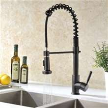 Fontana Milan Caseros Oil Rubbed Bronze Kitchen Sink Faucet with Pull Down Sprayer