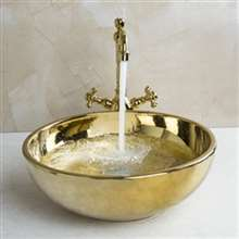 Turin Gold Finish Ceramic Bathroom Sink and Faucet Set