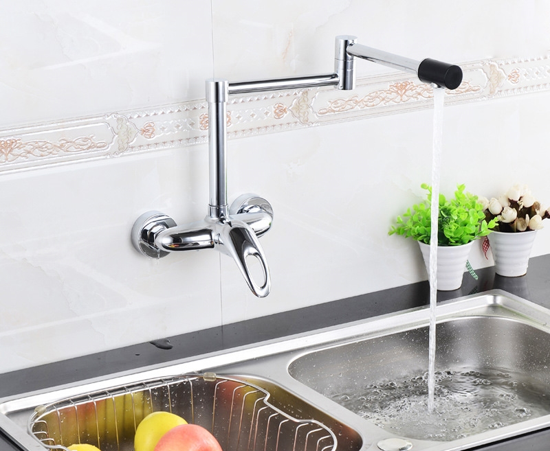 Catania Luxury Folding Wall Mounted Pot Filler Kitchen Faucet