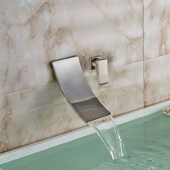 Bilbao Wall Mounted Brushed Nickel Single Handle Waterfall Spout Bathtub Faucet