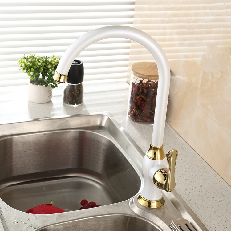 European Styled White Deck Mounted Kitchen Faucet