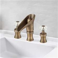 Tivoli Antique Bronze Dual Crystal Handle Knobs Bathroom Faucet
