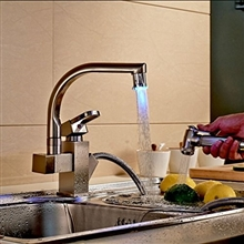 Lucca Brushed Nickel Single Handle LED Kitchen Faucet