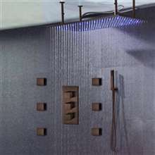 "Diadema 30"" * 40"" Large Oil Rubbed Bronze Solid Brass LED Rain Shower Head with Body Jets & Handheld Shower"