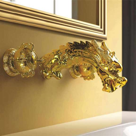 Umbria Wall Mount Widespread Sink Faucet Dragon Gold Finish Dual Handles