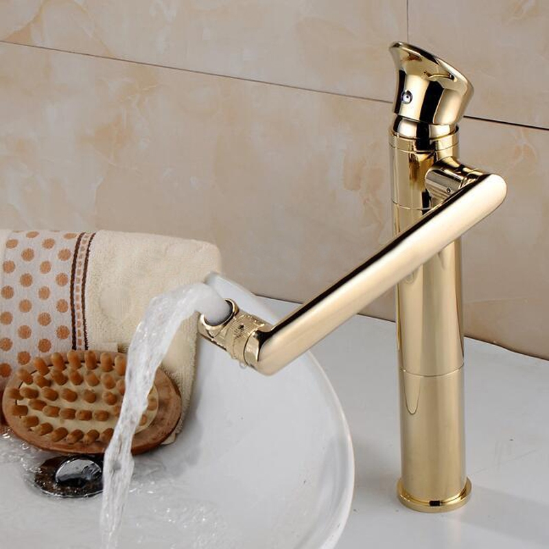Rochelle Luxury Brass Deck Mounted Gold Single Handle Bathroom Faucet