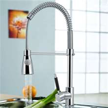 Valencia Single Handle Chrome Kitchen Sink Faucet with Pull Down Spray