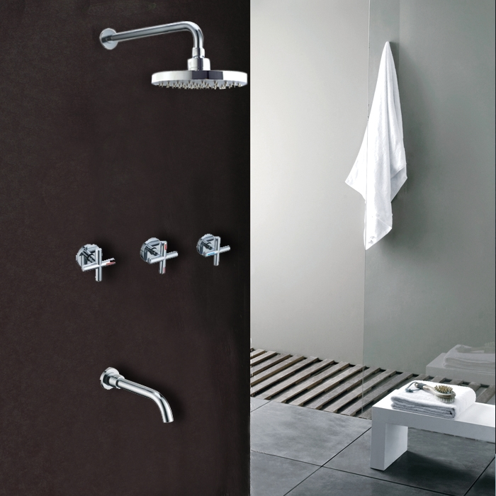 Ravenna Chrome Finish Wall Mounted Shower Head And Faucet Spout ...