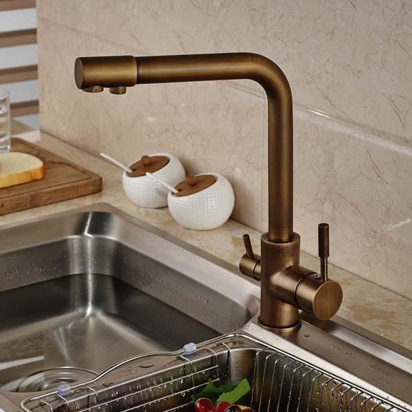 Shop Venice Antique Brass Deck Mount Kitchen Sink Faucet At