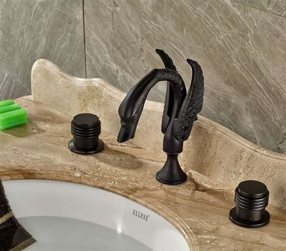 Savona Oil Rubbed Bronze Dual Handle Swan Shaped Bathroom Faucet
