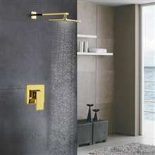Marsala Luxury Gold Wall Mount Rainfall Shower Set