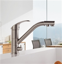 Pomezia High-end Brass Body Nickel Brushed Deck Mount Kitchen Faucet