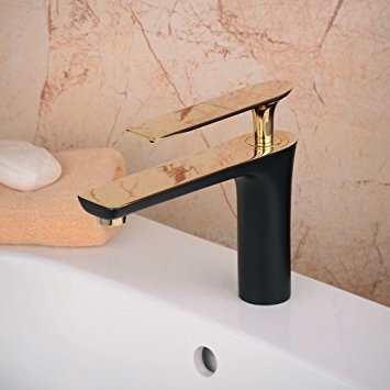 Bitonto Gold Polished Single Handle Long Reach Spout Black Painting Bathroom Faucet