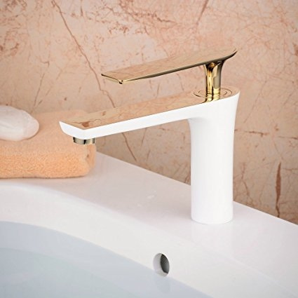 Bitonto Gold Polished Single Handle Long Reach Spout White Painting on home bathroom fixtures, painting bathroom fixtures, architecture bathroom fixtures, woman bathroom fixtures, diy bathroom fixtures, light bathroom fixtures,