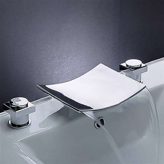 Leon Chrome LED Two Handles Bathtub Sink Faucet