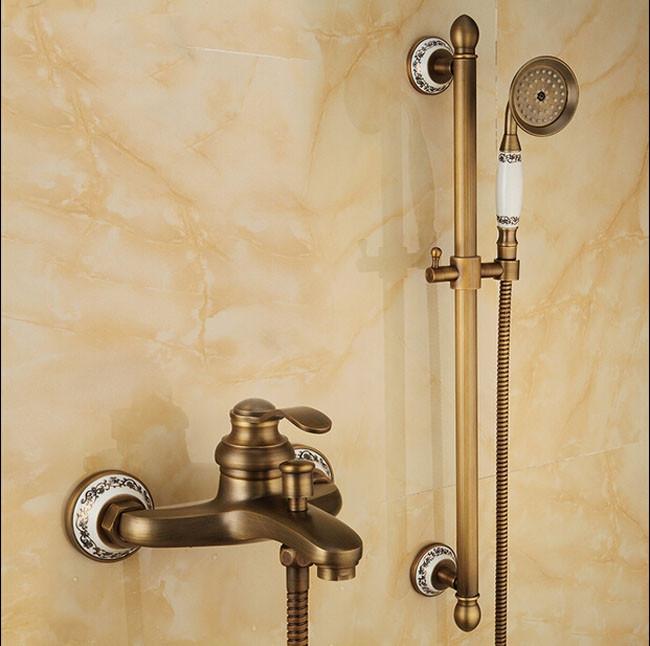 Leon Luxury Brass Antique Mixer Tap Single Handle Shower Faucet