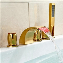 Catania Gold Finish Bathtub LED Faucet with Hand Held Shower
