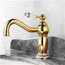 Lenox Gold & Ceramic Single Hanlde Deck Mounted Bathroom Sink Faucet