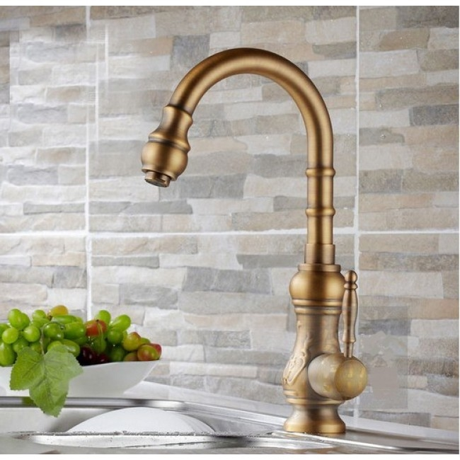 Shop Amasra Antique Brass Kitchen Sink Faucet With Hot And Cold
