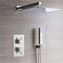 Lima Ultra Thin Rain Shower Head with Built in Thermostatic Mixer and Hand Held Shower Set