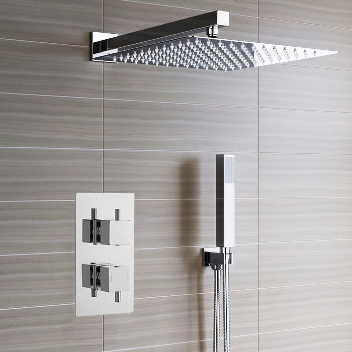 Lima Ultra Thin Rain Shower Head with Built in Thermostatic Mixer ...