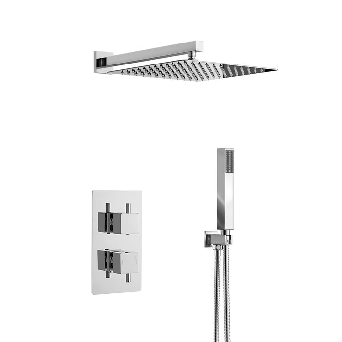 Shop Fontana Lima Ultra Thin Rain Shower Head With Built In Thermostatic Thermostatic Mixer And Hand Held Shower System One Week Sale Fontana Shower