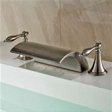Athenian Double Handled Deck Mount Brushed Nickel Bathtub Faucet