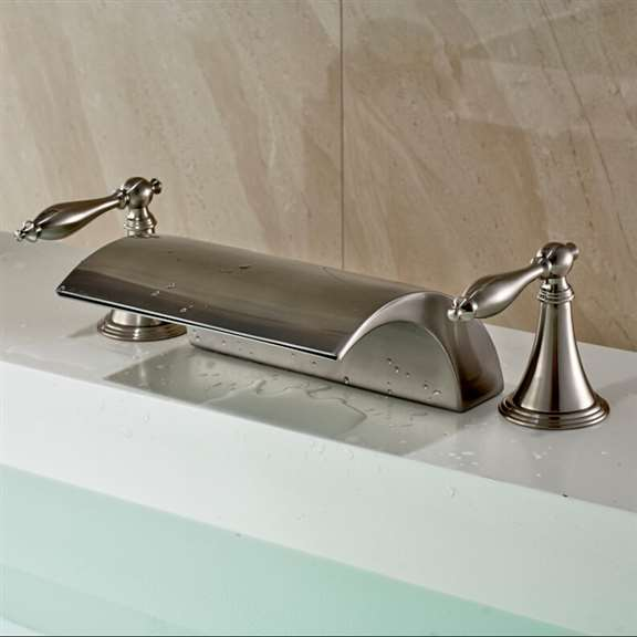 Athenian Double Handled Deck Mounted Brushed Nickel Bathtub Faucet