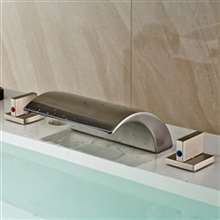 Memphis Deck Mounted Double Handle Brushed Nickel Bathtub Faucet
