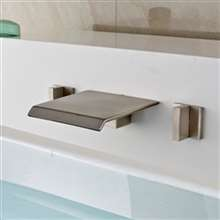 Morelia Double Handle Brushed Nickel Wall Mounted Bathtub Faucet.