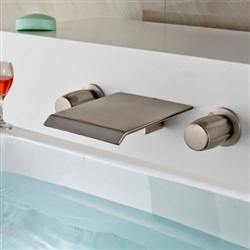Valencia Wall Mounted Brushed Nickel Double Handle Bathtub Faucet