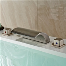 Vienna Deck Mount Two Handled Waterfall Bathtub LED Faucet
