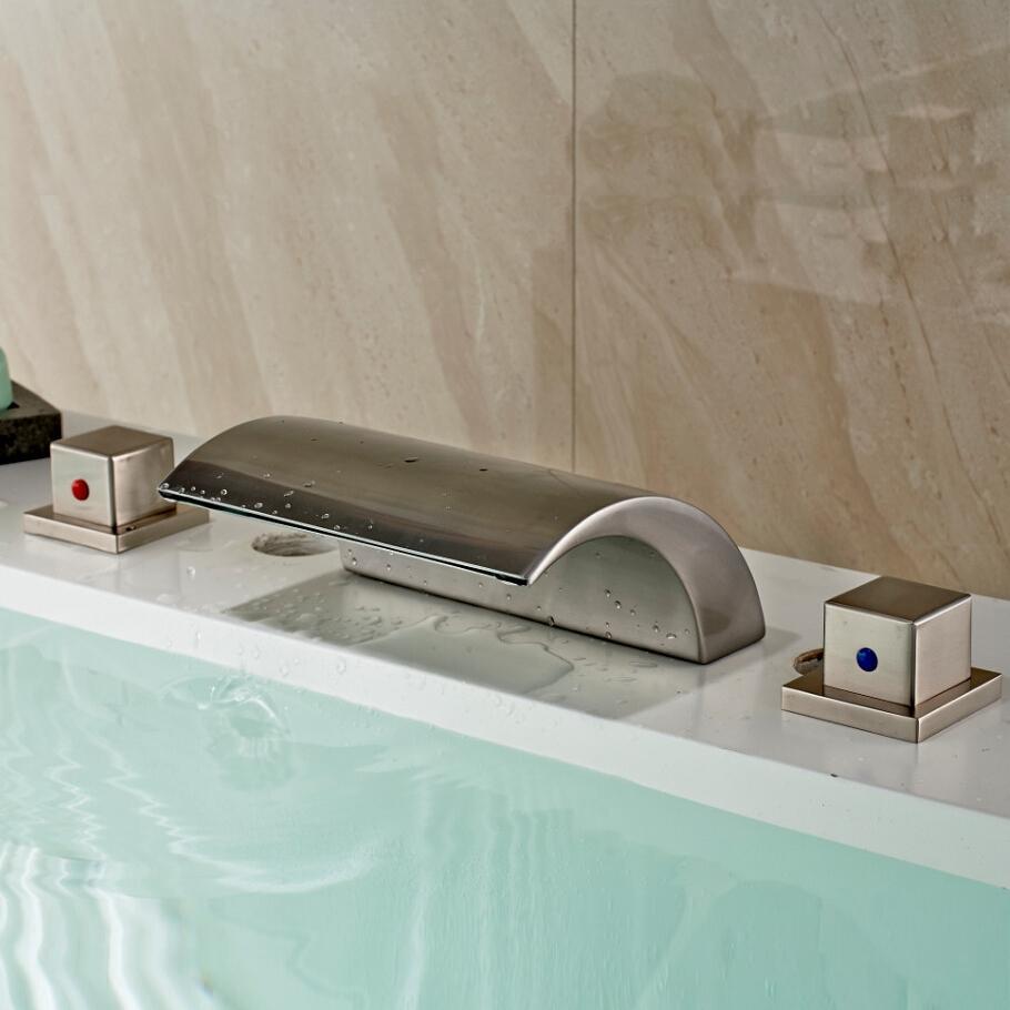 Deck Mount Bathtub Faucet.Vienna Deck Mount Two Handled Waterfall Bathtub Led Faucet