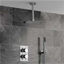 Fontana Sierra Round Ceiling Mount Ultra thin Bathroom Shower Head Set