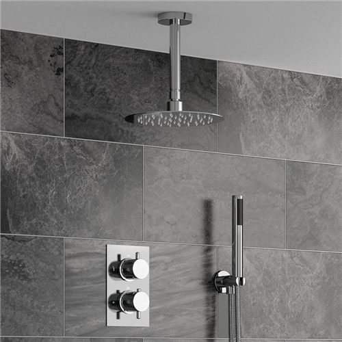 Fontana Sierra Series Round Ceiling Mount Ultra Thin Bathroom Shower Head  Set In Chrome Finish