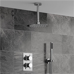 Fontana Sierra Series Round Ceiling Mount Ultra thin Bathroom Shower Head Set in Chrome Finish - complete with Thermostatic Mixer Valve