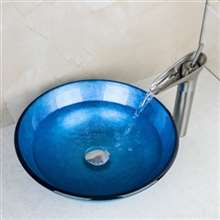 Genoa Round Bathroom Sink with Waterfall Faucet & Drain