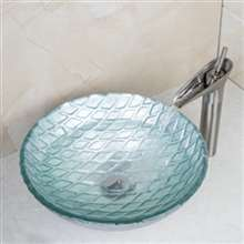Turin Round Bathroom Sink with Waterfall Faucet & Drain