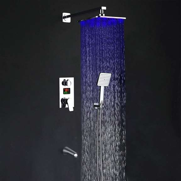 Crotone LED Digital Display 3 Way Shower System Rainfall Shower Set With Handheld Shower and Tub Faucet