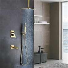 L'Aquila Brass Gold Tone Shower Set Ceiling Mounted - 3 Way Valve Mixer with Tub Spout Hand Shower