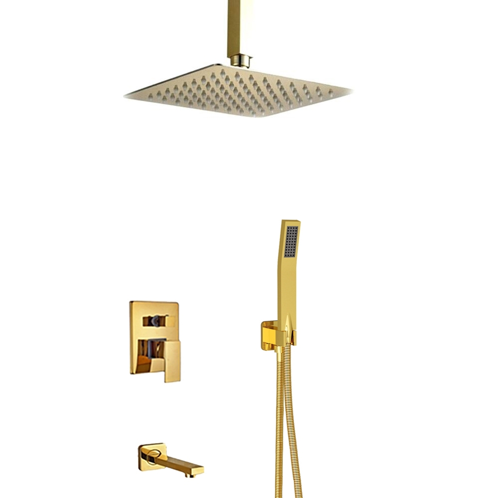L Aquila Brass Gold Tone Shower Set Ceiling Mounted 3