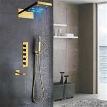 Créteil LED Colors Waterfall Rain Gold Tone Finish Shower Set 3 Ways Valve Mixer with Spout and Hand Shower Sprayer