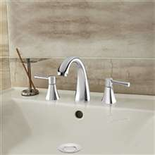 Baracoa Deck Mounted Dual Handle Bathroom Sink Faucet