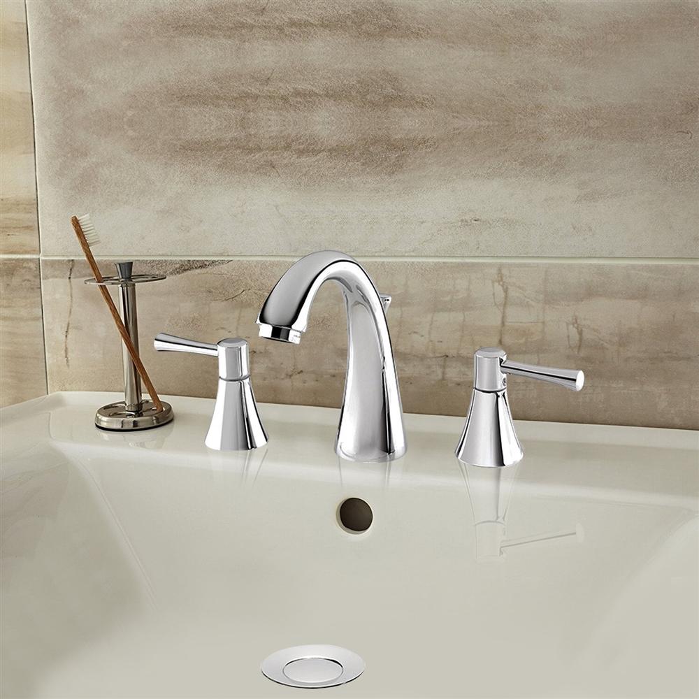 Baracoa Deck Mounted Dual Handle Bathroom Sink Faucet