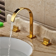 Chile Gold Finish Long Neck Dual Handle Deck Mount Bathroom Sink Faucet