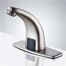 Fontana Sierra Commercial High Quality Brushed Nickel Touchless Automatic Sensor White Sink Faucet