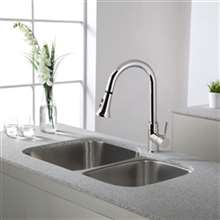Huacho Chrome Kitchen Sink Faucet with Pull Down Spray