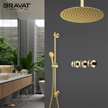 Bravat Crystal Gold Mixer Shower Set