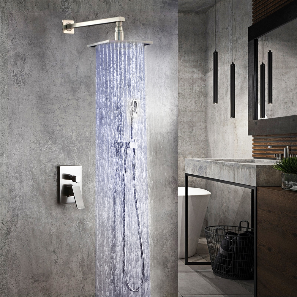 Fontana Flavia Color Changing LED Rainfall Shower Set in Brushed Nickel